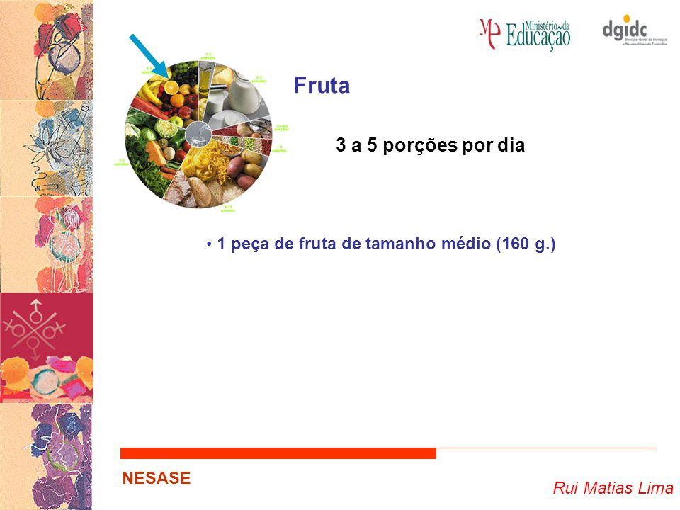 Fruta 3 a 5 porções por dia 1 peça de fruta de tamanho médio (160 g.)