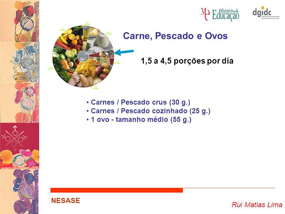 Carne, Pescado e Ovos 1,5 a 4,5 porções por dia