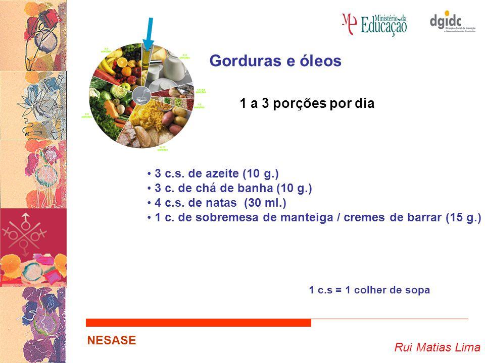 Gorduras e óleos 1 a 3 porções por dia 3 c.s. de azeite (10 g.)