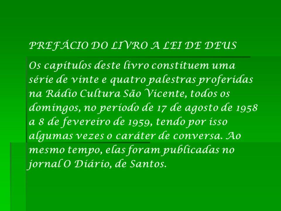 PREFÁCIO DO LIVRO A LEI DE DEUS
