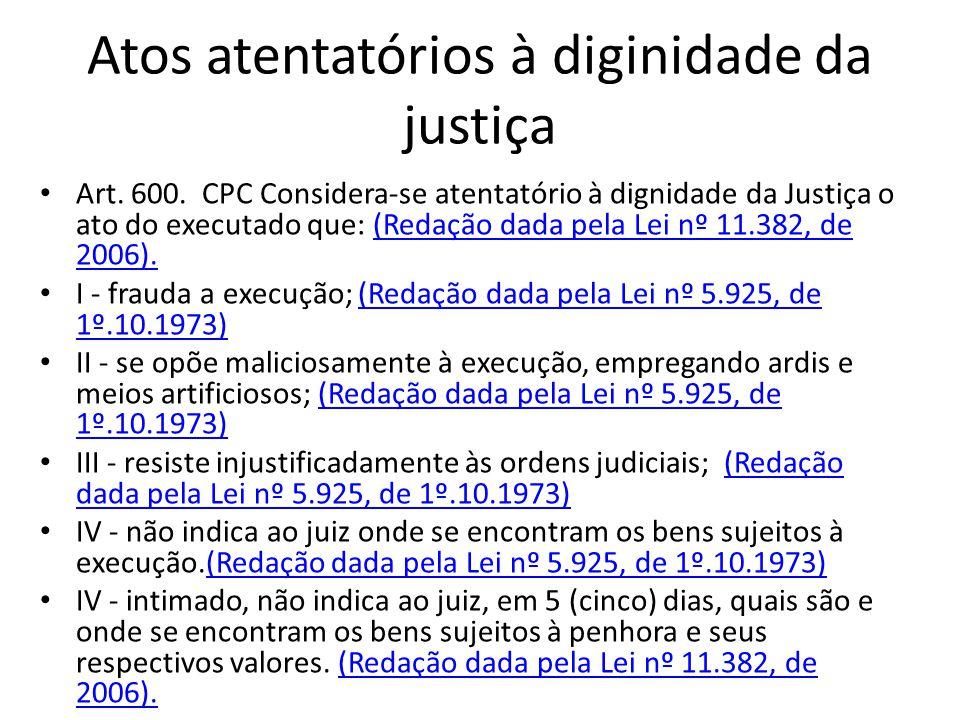 Atos atentatórios à diginidade da justiça