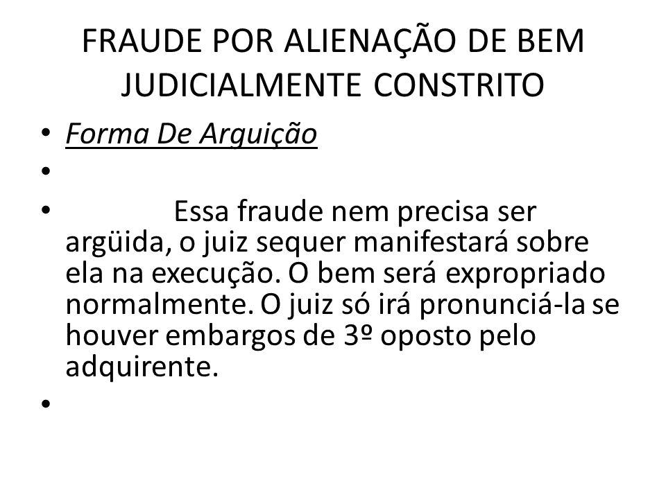 FRAUDE POR ALIENAÇÃO DE BEM JUDICIALMENTE CONSTRITO