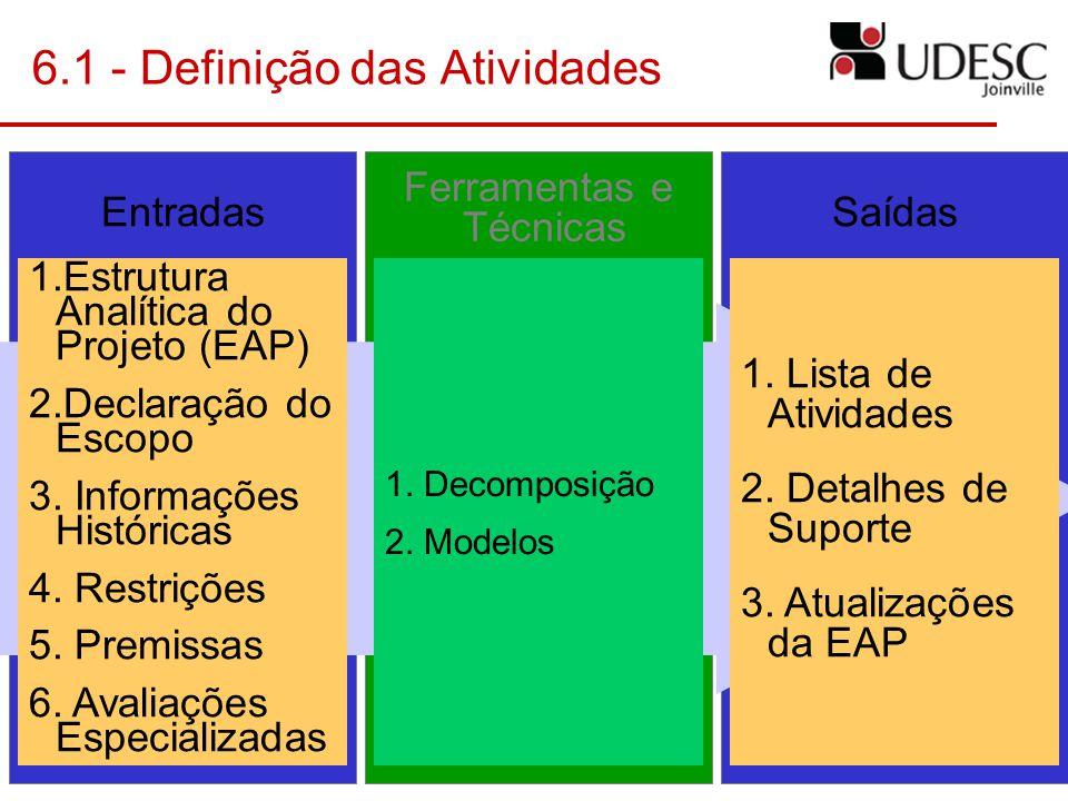 6.1 - Definição das Atividades