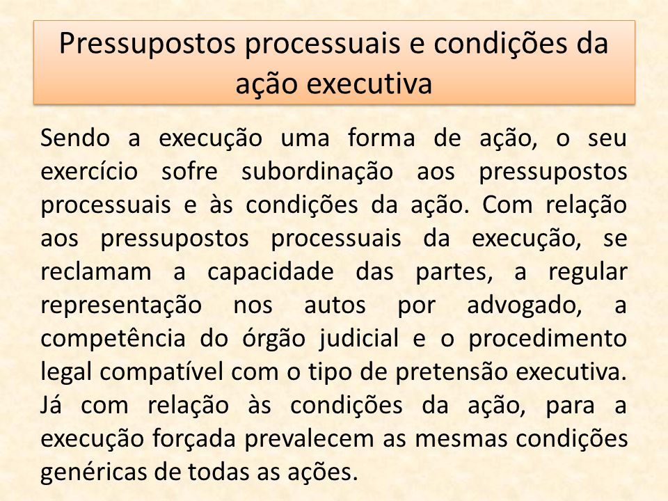 Pressupostos processuais e condições da ação executiva