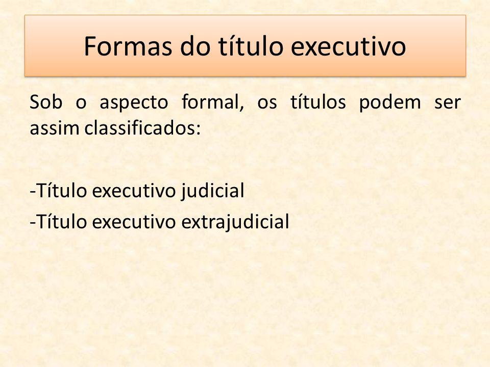 Formas do título executivo