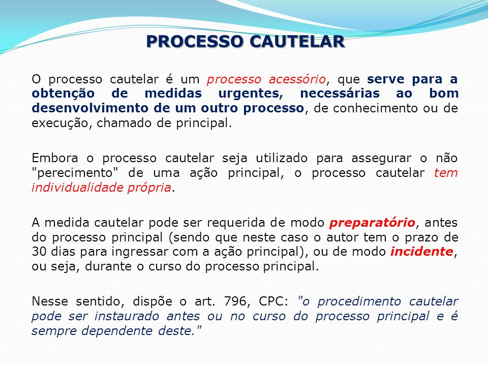 Processo Cautelar
