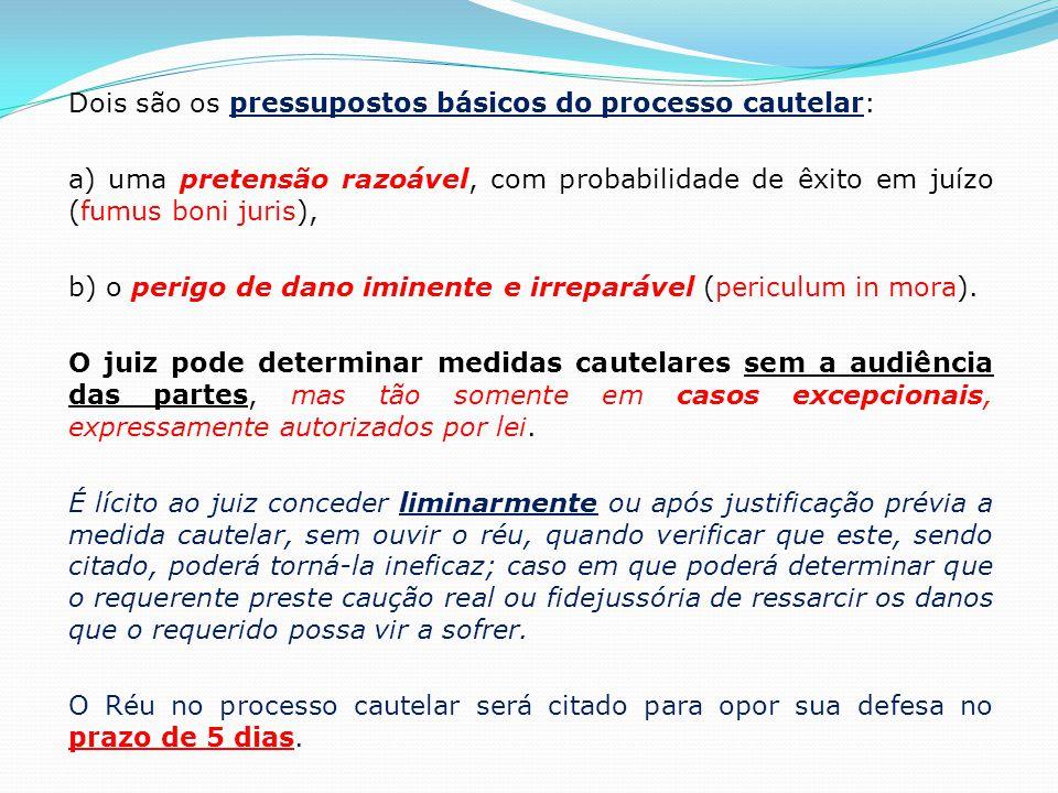 Dois são os pressupostos básicos do processo cautelar: a) uma pretensão razoável, com probabilidade de êxito em juízo (fumus boni juris), b) o perigo de dano iminente e irreparável (periculum in mora).