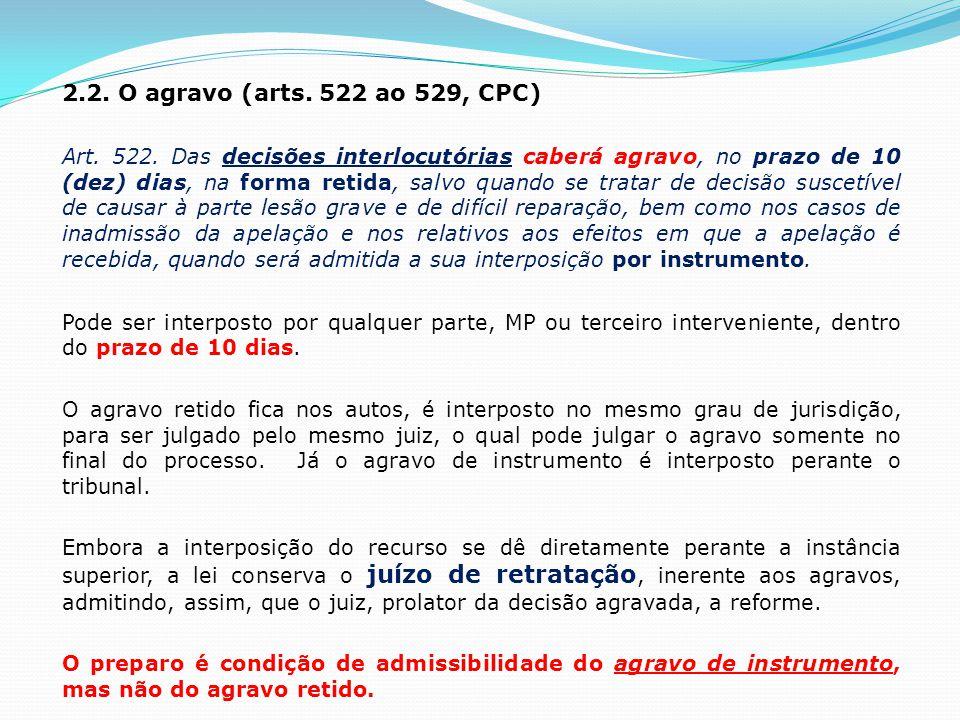 2.2. O agravo (arts. 522 ao 529, CPC)