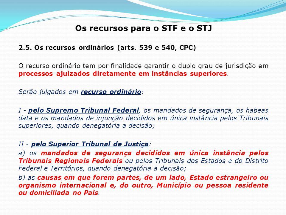 Os recursos para o STF e o STJ