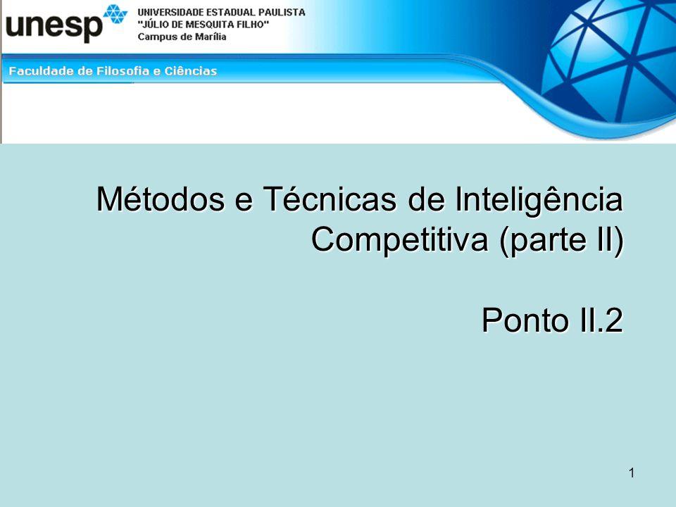 Métodos e Técnicas de Inteligência Competitiva (parte II) Ponto II.2