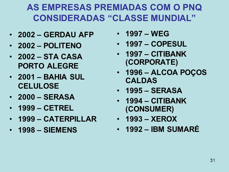 AS EMPRESAS PREMIADAS COM O PNQ CONSIDERADAS CLASSE MUNDIAL