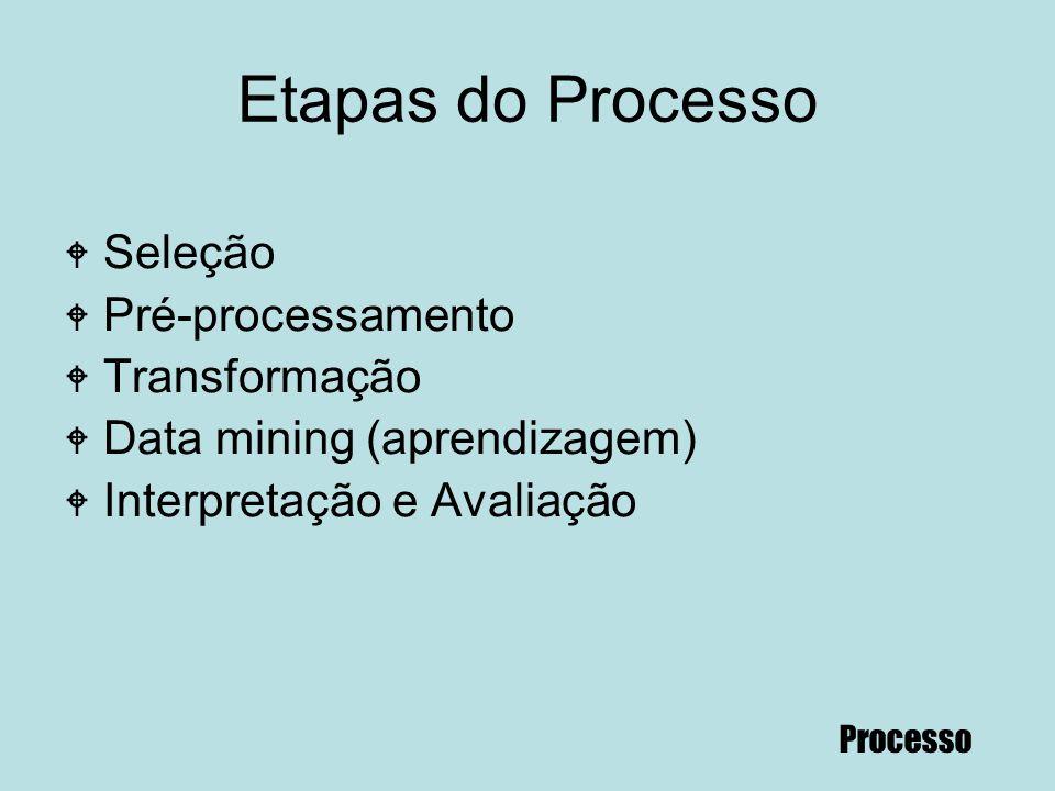 Etapas do Processo Seleção Pré-processamento Transformação