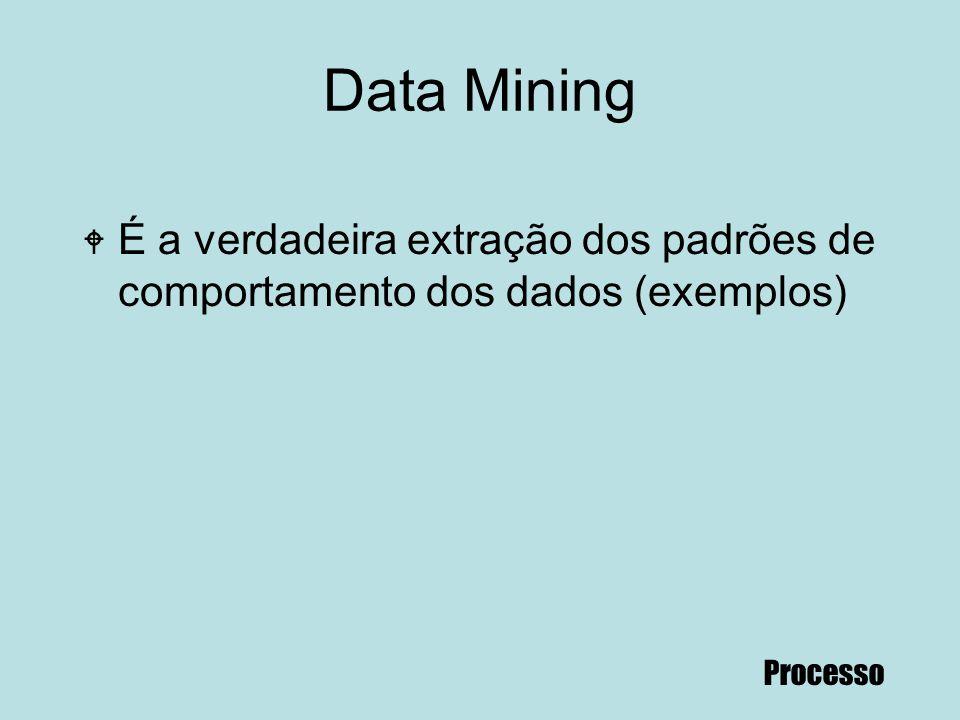 Data Mining É a verdadeira extração dos padrões de comportamento dos dados (exemplos) Processo