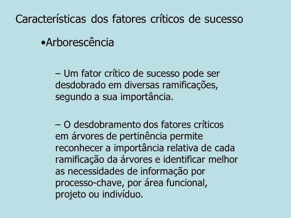 Características dos fatores críticos de sucesso