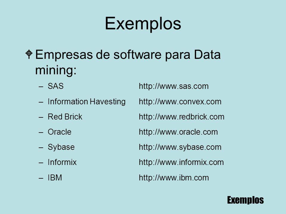 Exemplos Empresas de software para Data mining: Exemplos