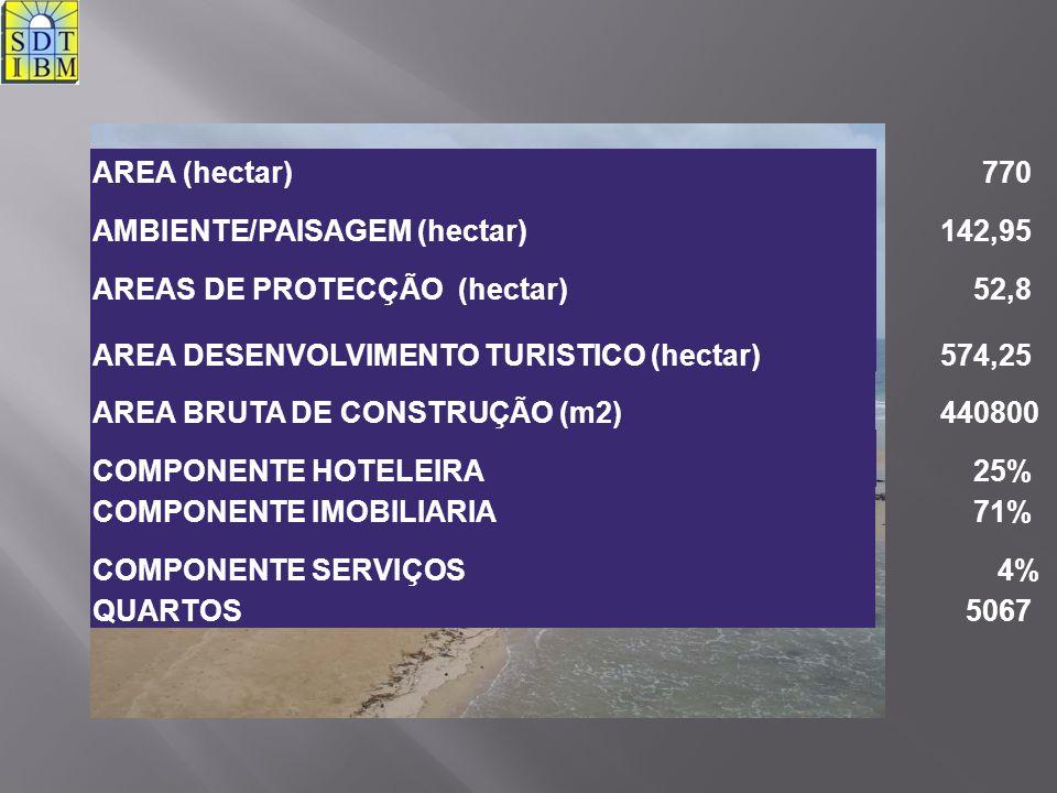 AREA (hectar) 770. AMBIENTE/PAISAGEM (hectar) 142,95. AREAS DE PROTECÇÃO (hectar) 52,8. AREA DESENVOLVIMENTO TURISTICO (hectar)
