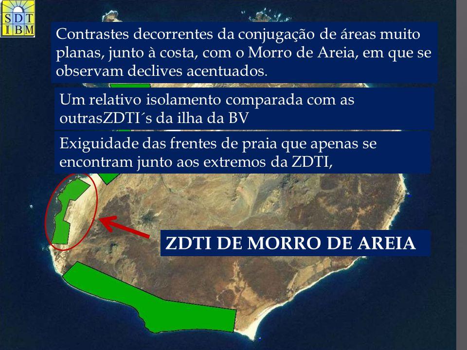 Contrastes decorrentes da conjugação de áreas muito planas, junto à costa, com o Morro de Areia, em que se observam declives acentuados.