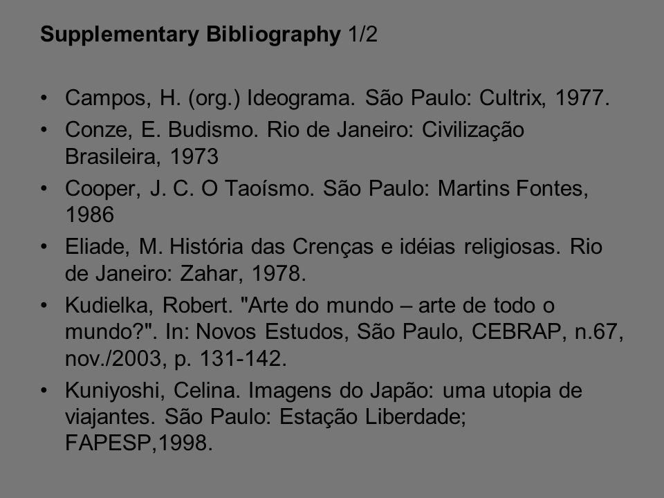 Supplementary Bibliography 1/2