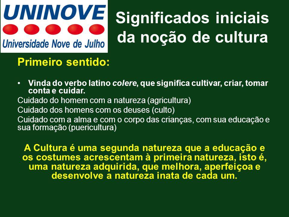 Significados iniciais da noção de cultura