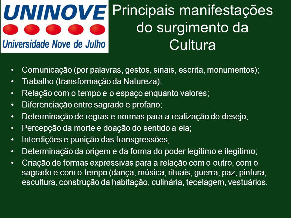 Principais manifestações do surgimento da Cultura