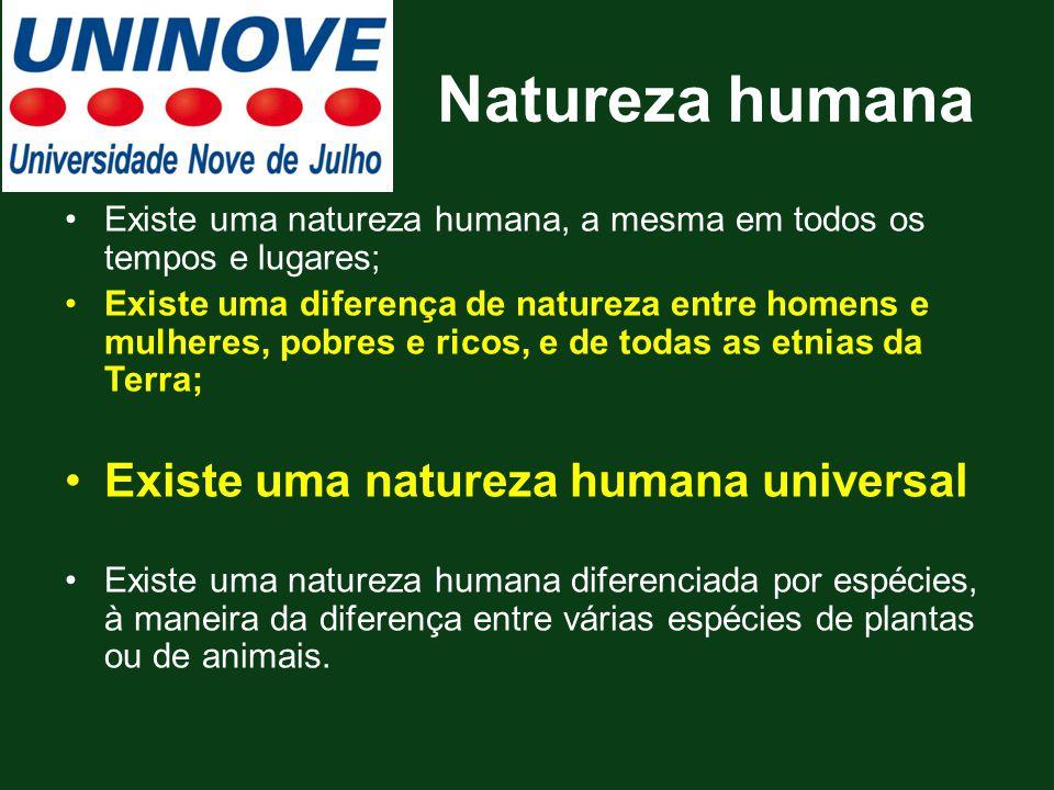 Natureza humana Existe uma natureza humana universal