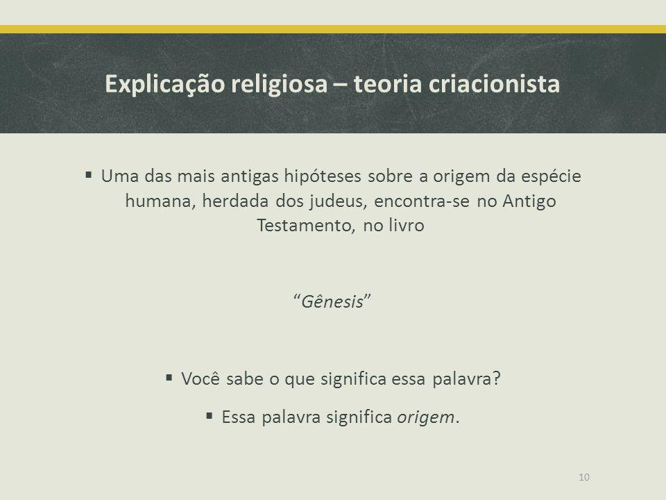 Explicação religiosa – teoria criacionista