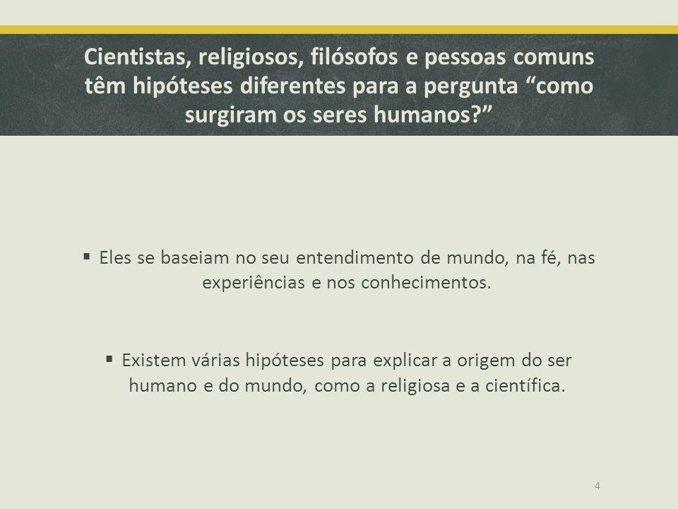 Cientistas, religiosos, filósofos e pessoas comuns têm hipóteses diferentes para a pergunta como surgiram os seres humanos