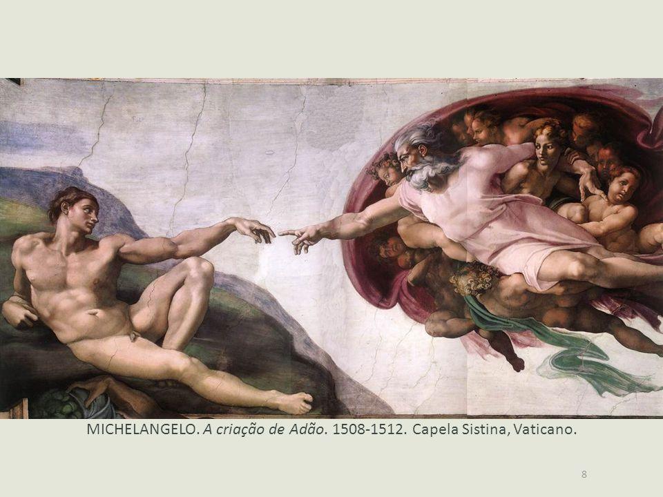 MICHELANGELO. A criação de Adão. 1508-1512. Capela Sistina, Vaticano.