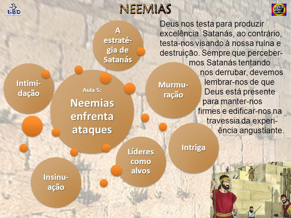 Neemias enfrenta ataques A estraté-gia de Satanás