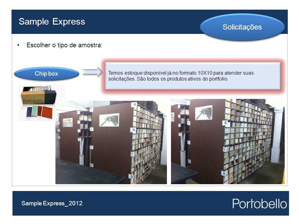 Sample Express Solicitações Escolher o tipo de amostra: Chip box