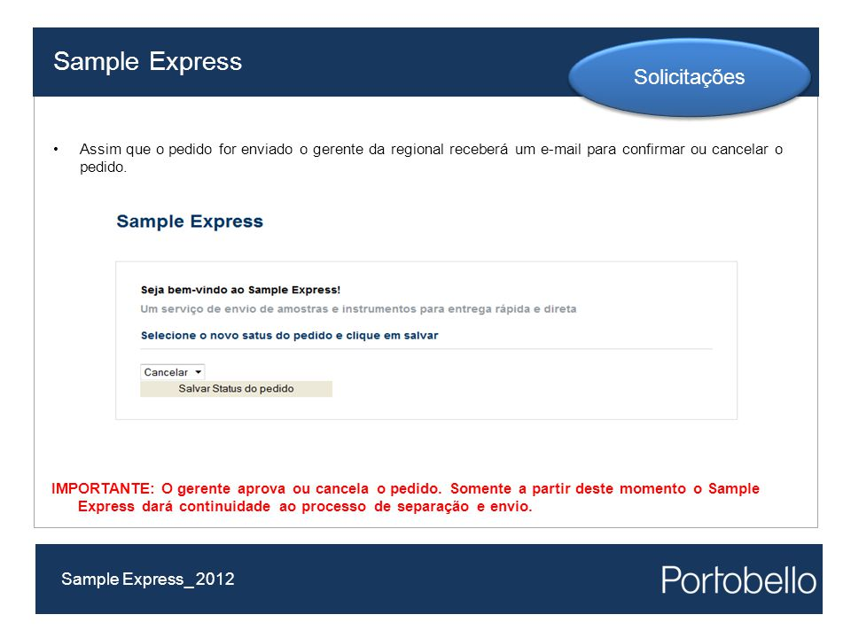 Sample Express Solicitações Sample Express_ 2012