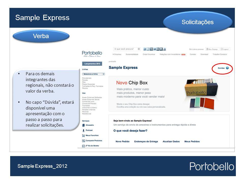 Sample Express Solicitações Verba