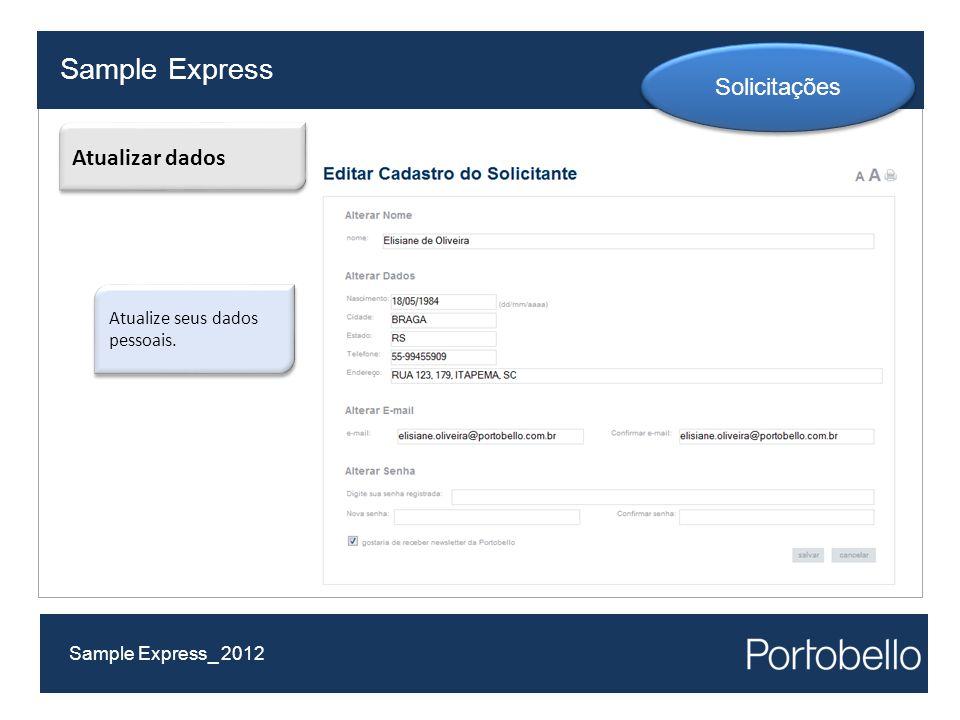 Sample Express Solicitações Atualizar dados