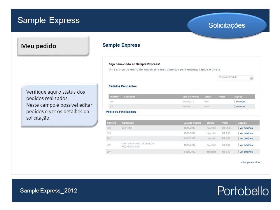 Sample Express Solicitações Meu pedido