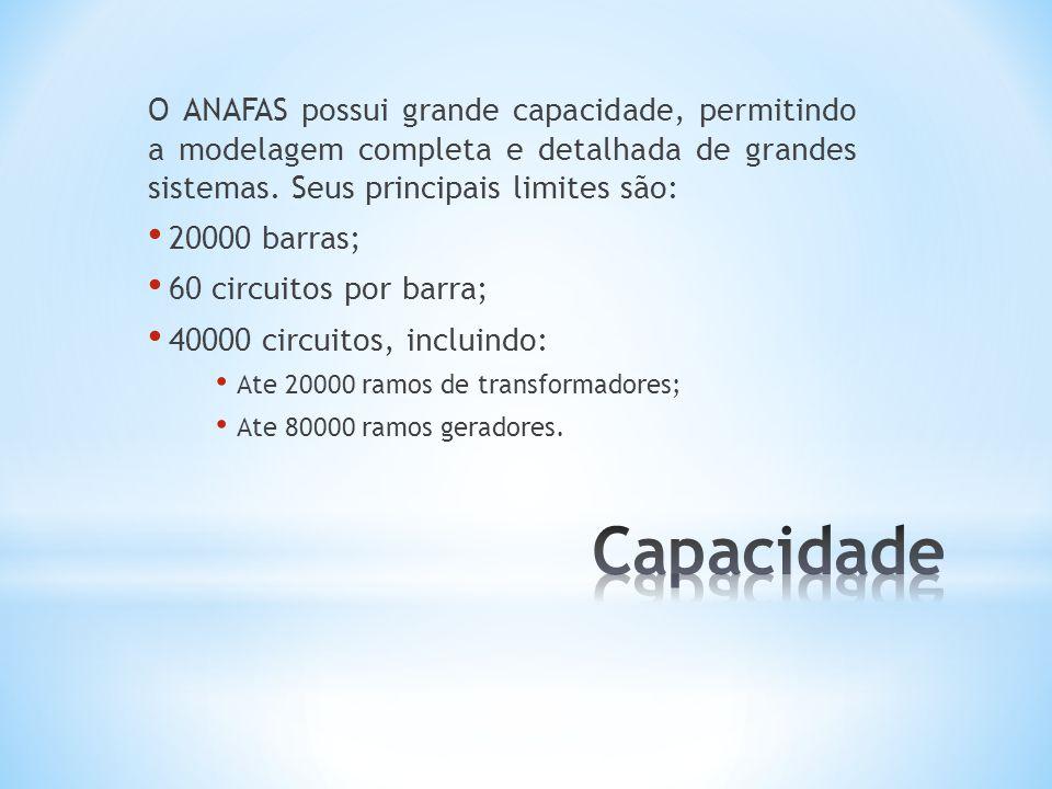 O ANAFAS possui grande capacidade, permitindo a modelagem completa e detalhada de grandes sistemas. Seus principais limites são: