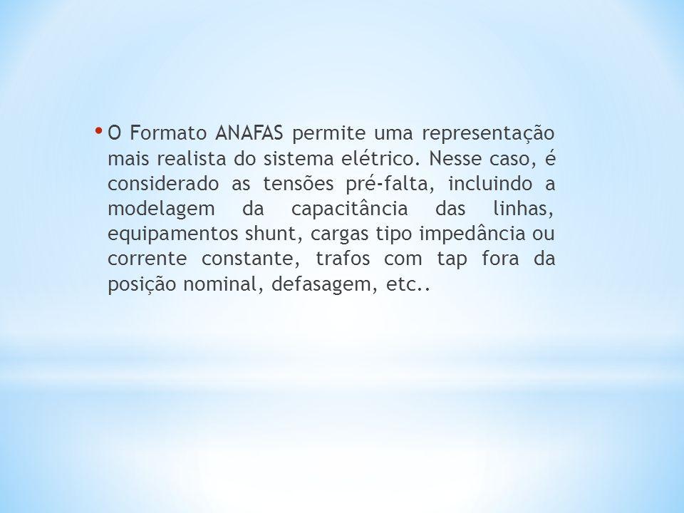 O Formato ANAFAS permite uma representação mais realista do sistema elétrico.