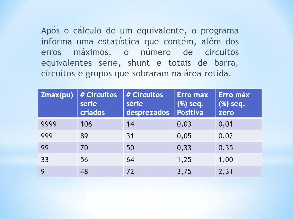 Após o cálculo de um equivalente, o programa informa uma estatística que contém, além dos erros máximos, o número de circuitos equivalentes série, shunt e totais de barra, circuitos e grupos que sobraram na área retida.