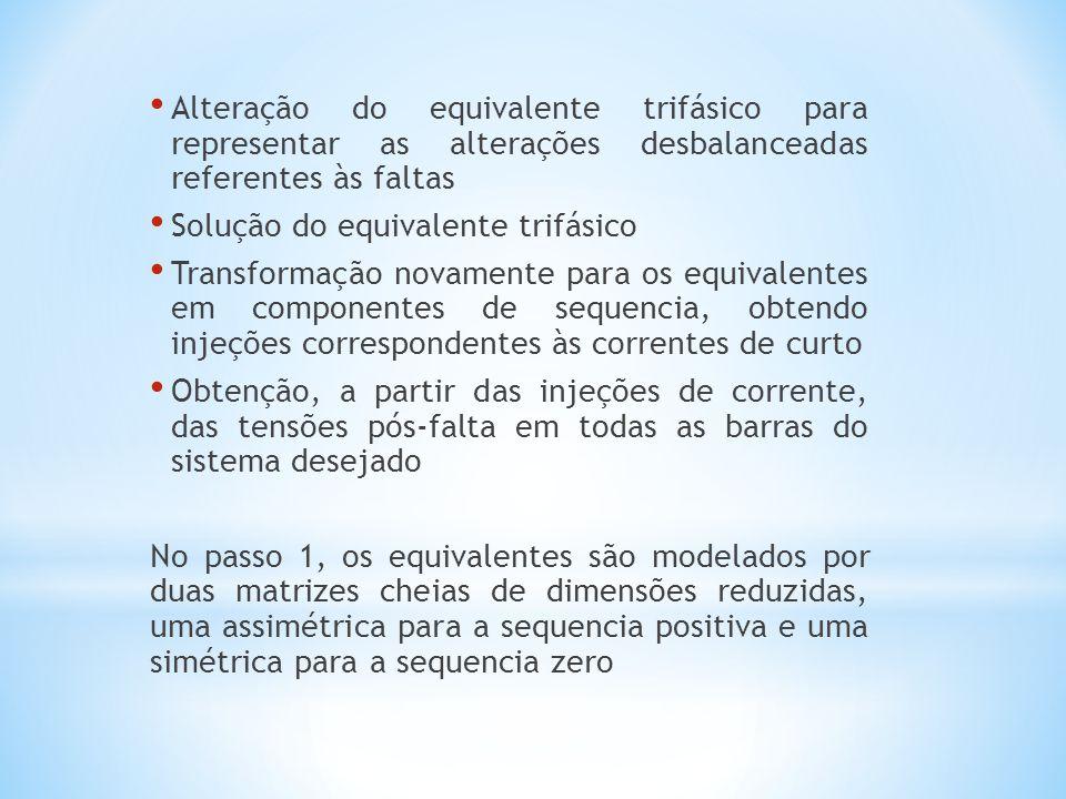 Alteração do equivalente trifásico para representar as alterações desbalanceadas referentes às faltas