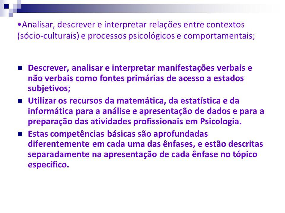 Analisar, descrever e interpretar relações entre contextos (sócio-culturais) e processos psicológicos e comportamentais;