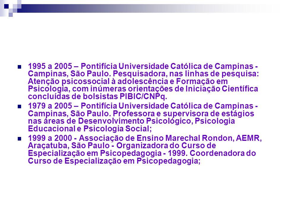1995 a 2005 – Pontifícia Universidade Católica de Campinas - Campinas, São Paulo. Pesquisadora, nas linhas de pesquisa: Atenção psicossocial à adolescência e Formação em Psicologia, com inúmeras orientações de Iniciação Científica concluídas de bolsistas PIBIC/CNPq.