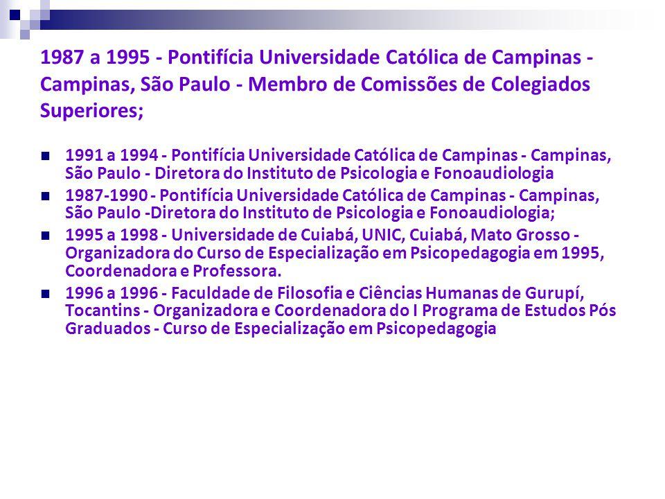 1987 a 1995 - Pontifícia Universidade Católica de Campinas - Campinas, São Paulo - Membro de Comissões de Colegiados Superiores;