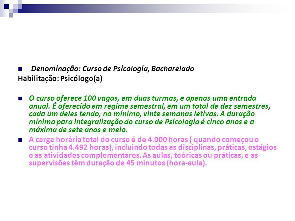 Denominação: Curso de Psicologia, Bacharelado