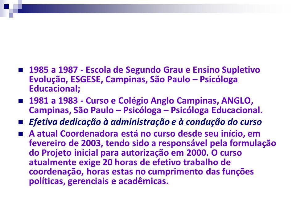1985 a 1987 - Escola de Segundo Grau e Ensino Supletivo Evolução, ESGESE, Campinas, São Paulo – Psicóloga Educacional;