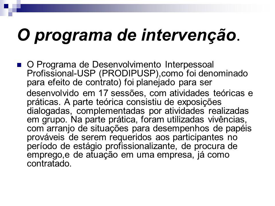 O programa de intervenção.