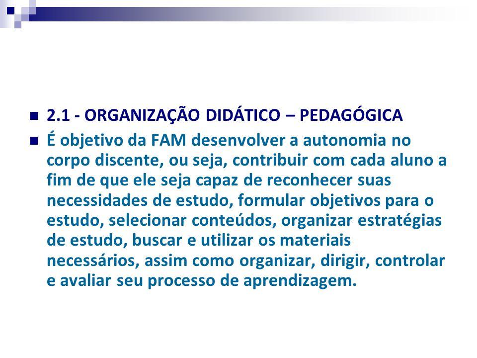 2.1 - ORGANIZAÇÃO DIDÁTICO – PEDAGÓGICA