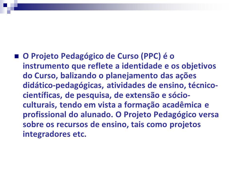 O Projeto Pedagógico de Curso (PPC) é o instrumento que reflete a identidade e os objetivos do Curso, balizando o planejamento das ações didático-pedagógicas, atividades de ensino, técnico-científicas, de pesquisa, de extensão e sócio-culturais, tendo em vista a formação acadêmica e profissional do alunado.