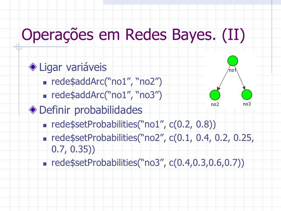 Operações em Redes Bayes. (II)