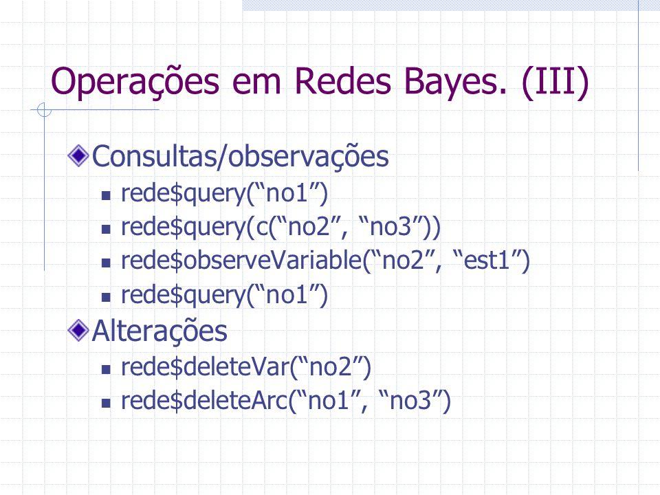 Operações em Redes Bayes. (III)