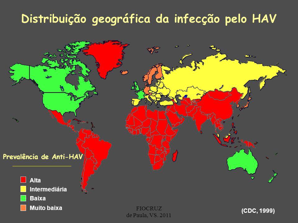 Distribuição geográfica da infecção pelo HAV
