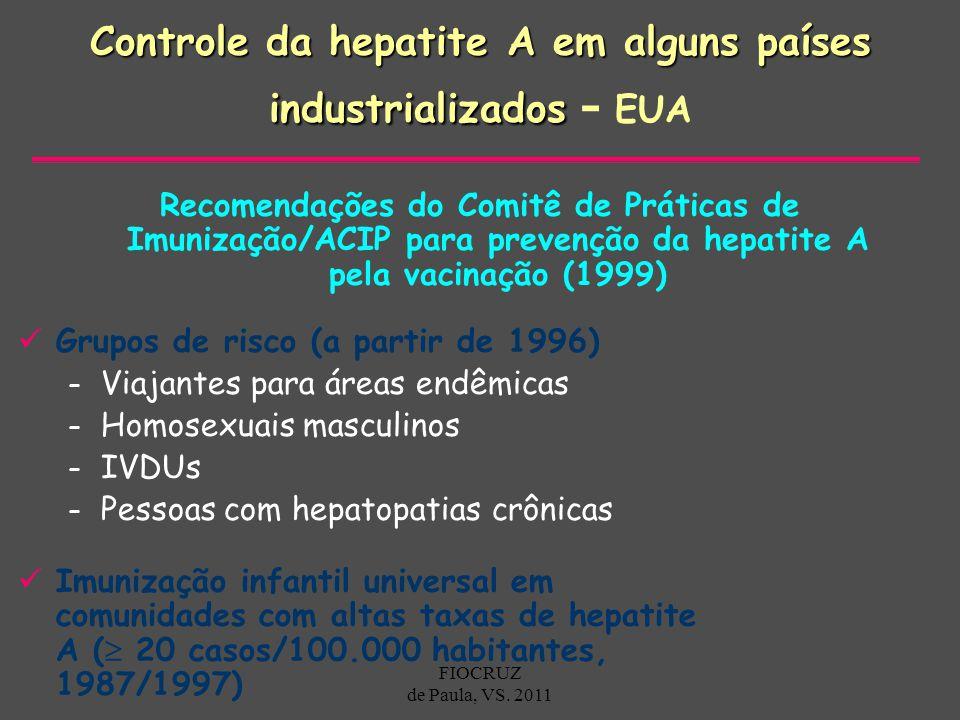 Controle da hepatite A em alguns países industrializados - EUA